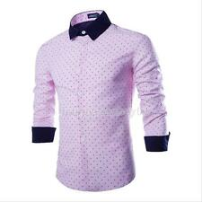 New Mens Slim Fit Patched Casual Dress Polka Dot Shirts Stitching Long Sleeve