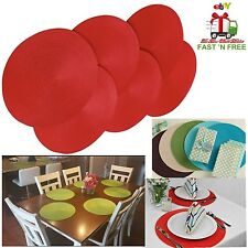 6 Pcs Placemat Round Woven Braided Spiral Mats Table Colorful Christmas Holiday