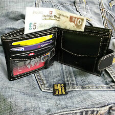 MENS GENUINE REAL COW HIDE LEATHER ID CREDIT CARD SLIM WALLET PURSE  KEY HOLDER
