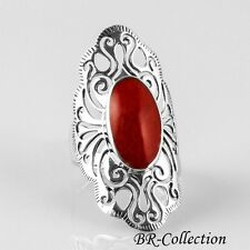 Large 925 Sterling Silver Ring with Red Agate Stone