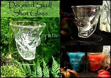 DOOMED SKULL SHOT GLASS~Glass~Bar Alcohol~Gothic~Man Cave~Punk~Beer~Party~