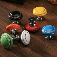 Furniture Ceramic Round Door Knob Drawer Cabinet Cupboard Kitchen Pull Handle