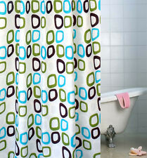 """78"""" Waterproof Polyester Bathroom Shower Curtain Round Circle Hooks Home Decor"""
