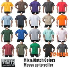 Lot 12 Pack PROCLUB HEAVYWEIGHT T SHIRTS Men Plain Crewneck Bulk Wholesale S-7XL