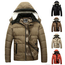 Mens Black Casual Winter Warm Cotton+Polyester Padded Hooded Coat Tops Outerwear
