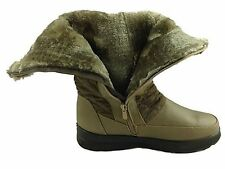 Ladies Brown Snow Boots Faux Fur Lined Warm Winter Quilted Buckle Shoe Size