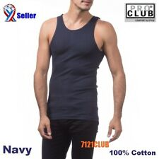 Lot 2 PROCLUB A-SHIRT TANK TOP NAVY Rib Cotton Men Wife Beater Undershirts S-7XL