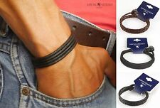 SURF PATROL Mens Leather Surfer Bracelet Wristband Braided Cord Brown Black Boys