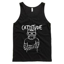 Cattitude Mens Tank Cats Humor Soft Comfy Top 100% Cotton