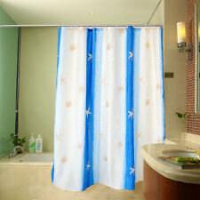 "71"" Bath Waterproof White Shower Curtain Blue Stripes Starfish Hooks Home Decor"