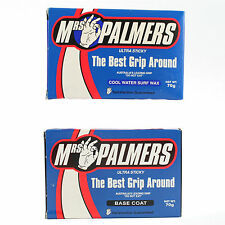 Mrs Palmers Base Coat and Cool Water Top Coat Surfboard Wax