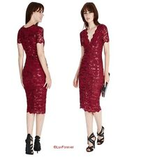 NEW WINE SEQUIN LACE MIDI KNEE-LENGTH DRESS COCKTAIL PROM EVE FORMAL PARTY 8-14
