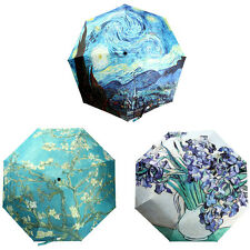 Oil Painting Silver Glue Umbrella Cloth 3 Folding Manually Parasol Rain Umbrella