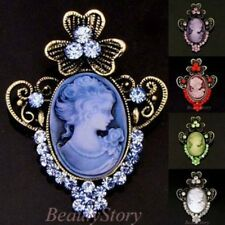 ADD'L Item FREE Shipping - Antiqued Rhinestone Crystal Cameo Brooch Pin