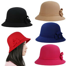 Wide Brim Trilby Bowler Cap Cloche Hat Bowknot Cap Beach holiday Travel Hat Lady