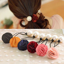 Fashion Women Girl Pearl Flower Hair Band Rope Scrunchie Nice Ponytail Holder