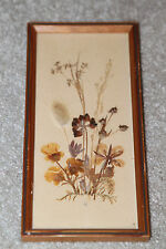 Vintage Pressed Dried Flower WOOD PICTURE FRAME Mid Century East Germany