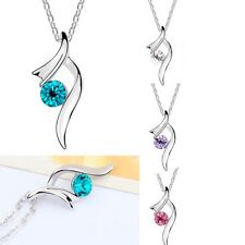 18k White Gold Crystal Cancer Ribbon Support Awareness Pendant Necklace Chain