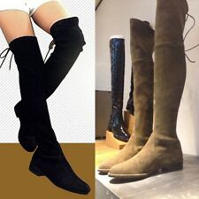 HOT Women Leather Over the Knee Thigh High Flat Boots Slim Leg Booties Size 5-10