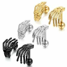 Cool Punk Gothic Skeleton Bone Hand Men Unisex Stainless Steel Ear Stud Earrings