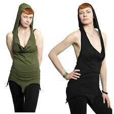 BACKLESS HALTER HOODED PIXIE TOP, psy trance clothing, elf top, festival wear