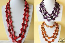 Ethnic African Necklace Lariat Extra Long Red Orange Purple Coco Wood Beads CN05