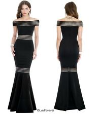 LONG OFFSHOULDER FISHTAIL WEDDING FORMAL EVE PROM MAXI PARTY DRESS 8-14 (WAS£69)