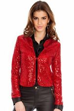 FULLSLEEVE RED MICRO SEQUIN WEDDING PROM BALL COCKTAIL EVENING PARTY JACKET 8-14