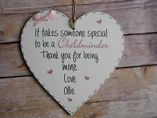 Handmade Wall Plaque Personalised Childminder Gift 15cm hanging wooden heart