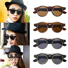 New Steampunk Goth Goggles Glasses Retro Flip Up Round Sunglass Vintage Black BE