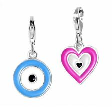 925 Sterling Silver Evil Eye Lucky Charms Double Sided Enamel Pendants Key chain