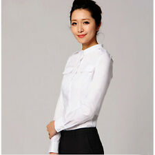Simple Style Bodysuit Blouse Stand Collar Long Sleeve OL Career Work White Shirt