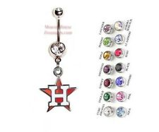 MLB HOUSTON ASTROS AUTHENTIC LOGO CHARM DANGLE NAVEL BELLY RING! NRMLB-104