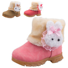 winter kid girl Toddler warm rabbit ankle snow boots faux suede fur lined shoes