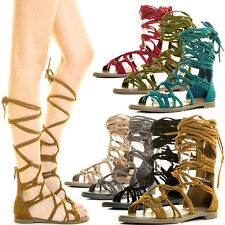Women Criss Cross Strappy Cage Leg Tie Lace Up Gladiator Flat Sandal Open Toe US