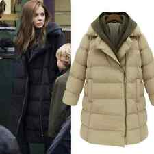 New Women's Winter Cotton Blend Jacket Puffer Long Coat Down Hooded Parka #E60