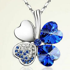 Stylish Fashionable Women's Ladies 4 Leaf Clover Crystal Pendant Chain Necklace