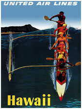 383.Art Decor POSTER.Graphics to decorate home office.United Airlines Hawaii. Ad