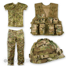 KIDS CHILDRENS MTP CAMO SET T SHIRT TROUSERS ASSAULT VEST HELMET BRITISH ARMY