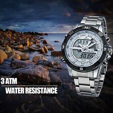 Mens Digital Dual Quartz Wrist Watch Luxury Stainless Steel Sport Watches YV8G