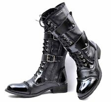 Winter Thick Men Rock Motorcycle Faux/PU Leather Punk Boots Buckle Lace Up Shoes