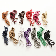 Multi Color Cotton Waxed Round Cord String Dress Shoe Laces 85cm 1 Pair new WF