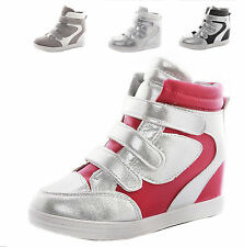 2016 Womens Girls Hidden Wedge High Top Strap Sneaker Ankle Boots Shoes
