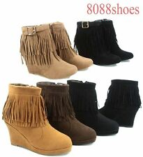 Women's Fringe Wedge Round Zipper Buckle Toe Ankle High Bootie Size 5 - 10 NEW