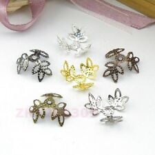 150Pcs 3-Leaves Flower Bead Caps 15mm,Silver/Gold/Bronze/Black etc. R0114