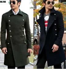 Military Double-Breasted Trench  Men Overcoat Jacket Wool Outerwear Coats S-5XL