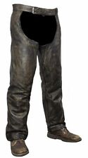 Mens Distressed Brown Naked Cowhide Leather Motorcycle Riding Chaps S to 2XL