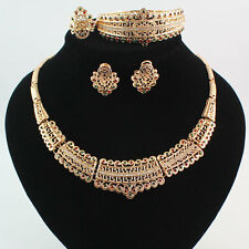 Gold Plated Colorful Crystal Charming Necklace Fashion Party Jewelry Set