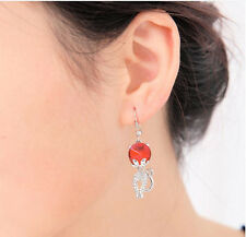 Women Elegant Crystal Rhinestone lovely Cat Ear Stud Earrings fashion