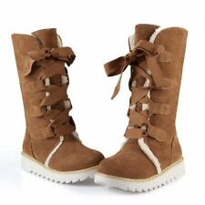 New Womens Winter Leopard Mid Calf Boot Flat Oxford Lace Up Snow Shoes Plus Size